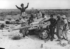 Soldiers and other armed men enjoying touching the cannon. Israel.