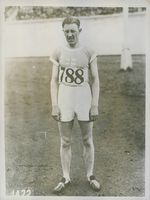 Finnish athlete Harri Larva being photographed after 1500 m race at the 1928 Summer Olympics