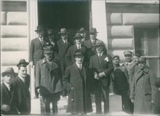 Alexandros Papanastasiou with the leaders of Greece standing outside the building.