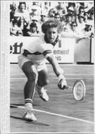Brian Gottfried in action during the match against Patrice Dominguez in French Open 1977