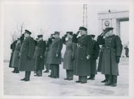 General Smimoov (Russia), General Desbuscenes (France) and other Aliied officers take the salute at the March Past. 1946