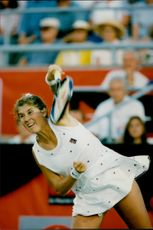 The tennis player Monica Seles during the Canadian Open 1995