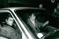 Actor Alain Delon fetches his son from Bois-d'Arcy's arrest in his Lancia