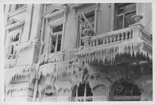 Finnish-Russian War 1939-40 Icicle on abandoned house.