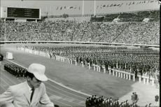 A crowded stadium during the opening ceremony of the Olympic Games