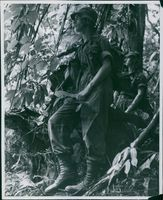 Soldiers in the middle of the jungle halted upon hearing a suspicious sound.