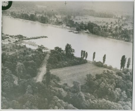 A severed pontoon bridge on the Rhine taken from a height of 600 feet. 1939.
