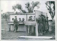 1944 Italy -  Fifth army troops mine school. A general view of the school's