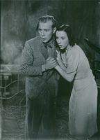 Marianne Aminoff and Hasse Ekman in the Swedish comedy film Blixt och dunder from 1938.