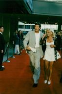 David Hasselhoff with Pamela Bach's wife in the premiere of