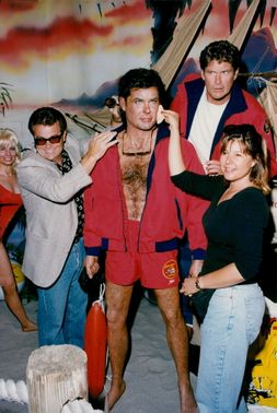 David Hasselhoff's wax doll at the Hollywood Wax Museum is admired by David Hasselhoff with friends