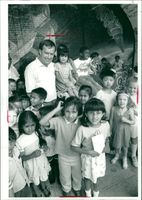 Schools 1980-1987:Peter Sawyer with some of his pupils.
