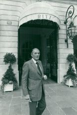 Gregory Peck Outside The Ritz In Paris During A Holiday With The Family