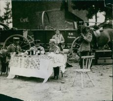 Army generals siting and having drink together during First World War, 1914.