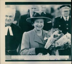 H.M. Queen Elizabeth II with the Dean of York Rev. John Southgate after the re-dedication service of the South Transept of York Minster