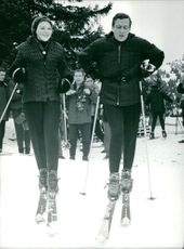 Princess Beatrix and Prince Claus of the Netherlands skiing.  Taken - 24 Jan 1966