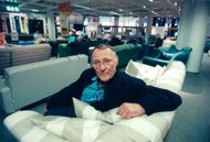 The founder of IKEA, Ingvar Kamprad, in a sofa at IKEA