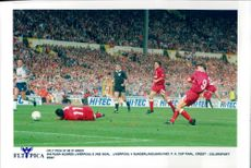 Ian Rush makes Liverpool's second goal at the FA Cup final between Liverpool and Sunderland