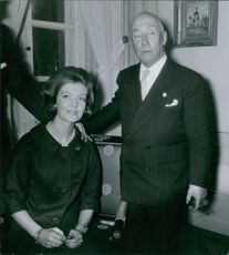 Princess Birgitta with her father-in-law Prince Frederick of Hohenzollern. 1961.