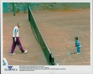 Boris Becker trains tennis with his son Noah in Monaco