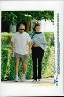 American tennis player Andre Agassi accompanies his wife, actress Brooke Shields, to her lesson in self-defense