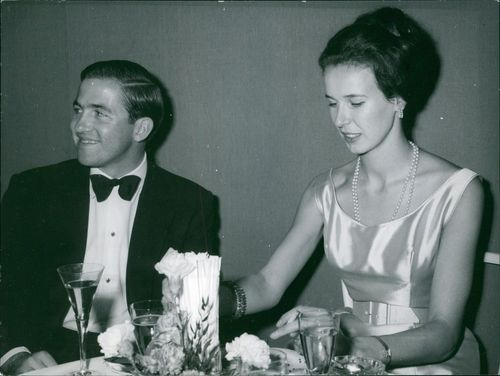 Princess Maria Gabriella of Savoy with Constantine II of Greece at the Gala during the premiere of the reconstructed Munich opera house. 1963.