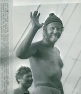 Research traveler Thor Heyerdahl country ladder in Bridgetown after 57 days at sea on the papyrus boat Ra II