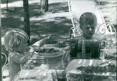 Albert II of Belgium's children having their breakfast.