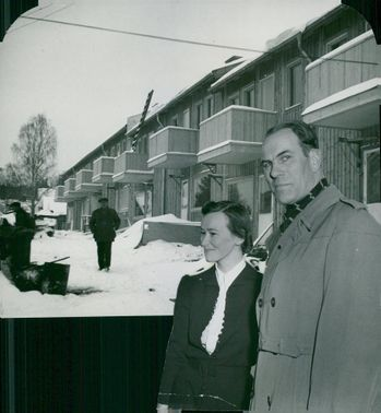 New residential building in Sandviken. Curator Ragnar Berglund together with Mrs Alice Fors