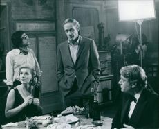 Susan Hampshire having her meal with other people.