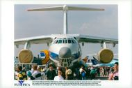 A Russian Iljusjin Il-76 aircraft is displayed at the Paris flight show