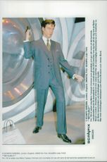Wax cabinet on actor Pierce Brosnan