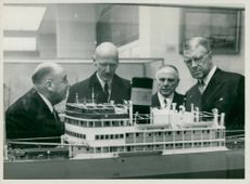 King Håkon VII of Norway visits the Maritime Museum in the company of King Gustaf VI Adolf
