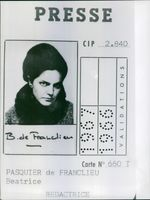 A photo of Beatrice Marie Huguette Guillemine Pasquier Franclieu Identification Card as a Fashion Journalist.