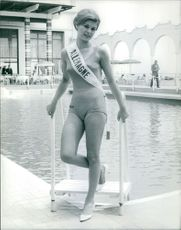 Young Miss Germany in swim suit, during a beauty pageant.  Taken - Circa 1965