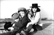 Photo of Italian actress, Lucia Bosè, with her children, Paola, Miguel and Lucia.