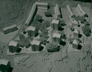 Model of the construction plan erected by architect Gösta Orinder over the new residential area in Nacka