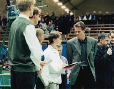 Tennis player Stefan Edberg awarded a scholarship to young tennis player at Stockholm Open 1996