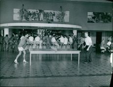 Table tennis in a Olympic game. September 19, 1960