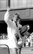 Chris Evert after the win against Laura Golarsa in Wimbledon in 1989