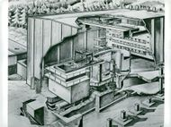 AB Atomenergi Research Station in Studsvik. X-ray of the reactor hall in the R2 plant