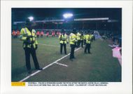 Policemen and officers are guarding Aston Villa against the Arsenal football match
