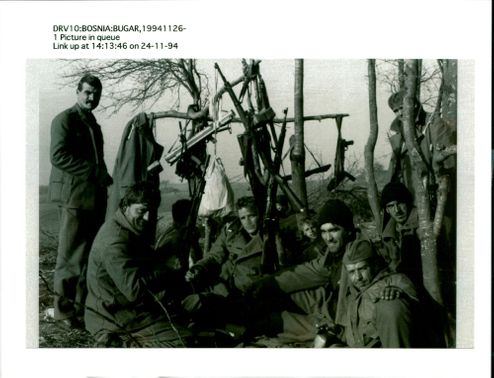 Rebel soldiers led by Fikret Abdic take a break.