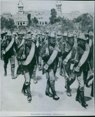 Battalion marching during the war.