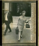 Lord George Brown with Mrs Barbara Castle leaving Transport House after a meeting