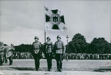 Soldier troops have a ceremony.