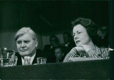 Barbara Castle and Aneurin Bevan, Photographed side by side at a political rally.