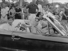 The royal family in Jamaica - Prince Philip Duke of Edinburgh driving with his children Prince Charles and Princess Anne