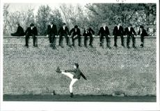 Warming up at the eton wall game.