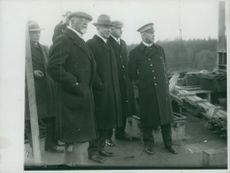 Admiral  Ericson, Svea company's CEO and Admiral Rybeck at the towing of the steamer Heimdall in 1929.